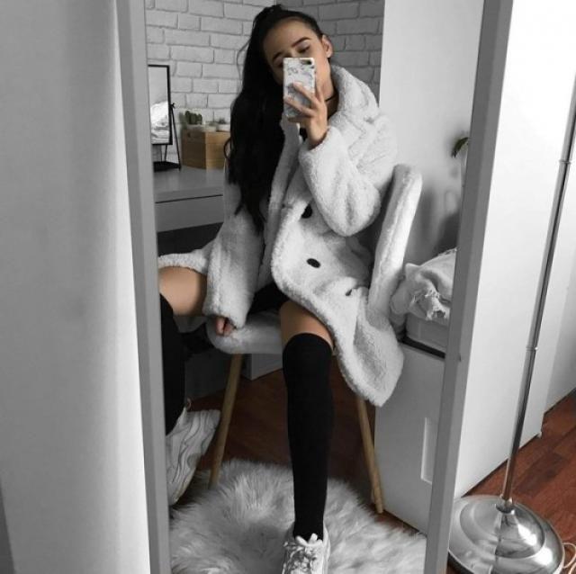 Long teddy coat!