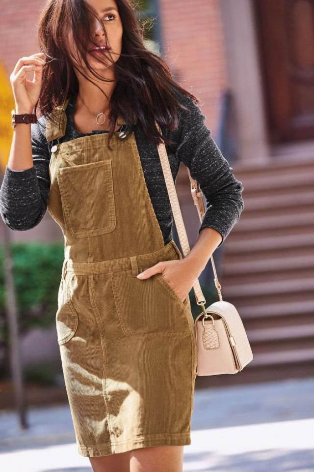 Corduroy Pocket Slit Straight Pinafore Dress  Popular pinafore dress and sweaters , the sweetest colors will complemen…
