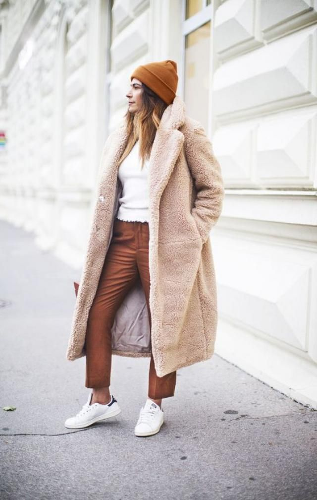 Faux Fur Fluffy Textured Winter Teddy Coat - Camel Brown