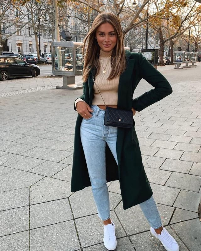Seam Pockets Double Breasted Wool Blend Coat  Gorgeous green  long coat adn jeans with crop sweater from Zaful and thi…