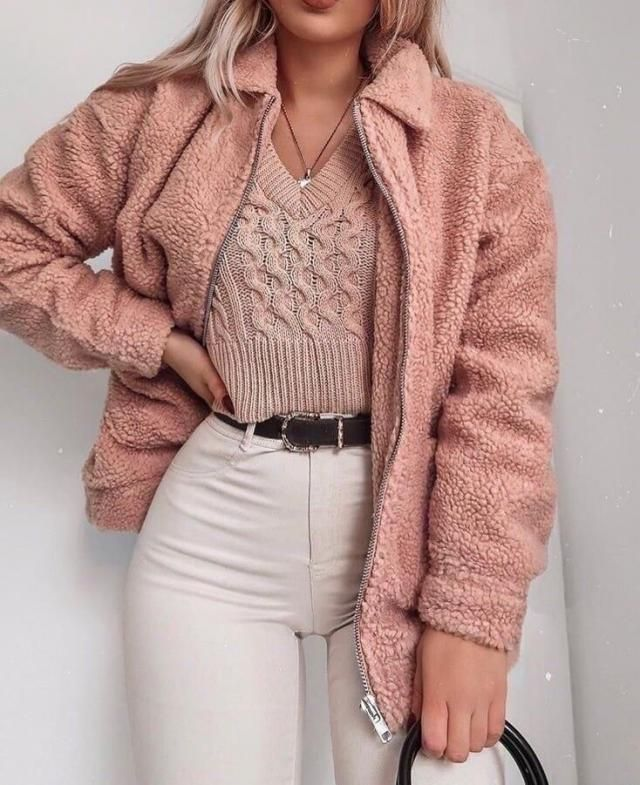 ZAFUL Ribbed Hem Zip Pocket Fluffy Teddy Jacket