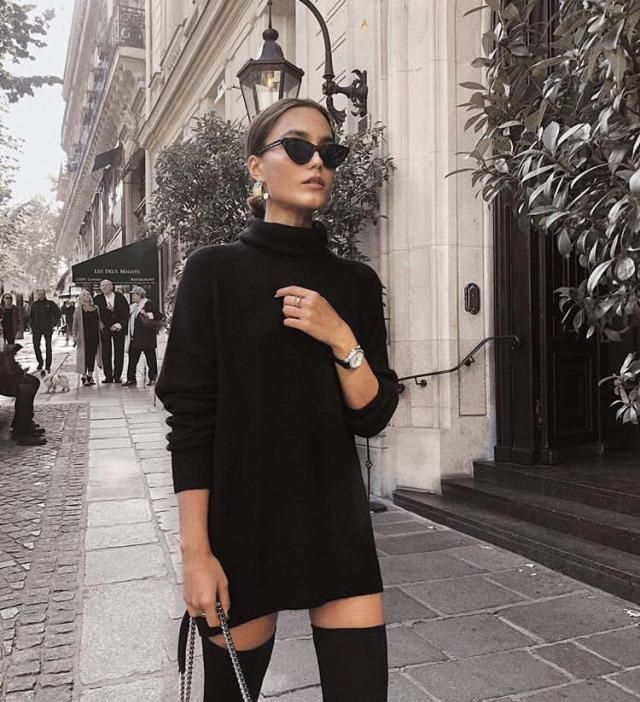 Turtleneck Drop Shoulder Mini Sweater Dress
