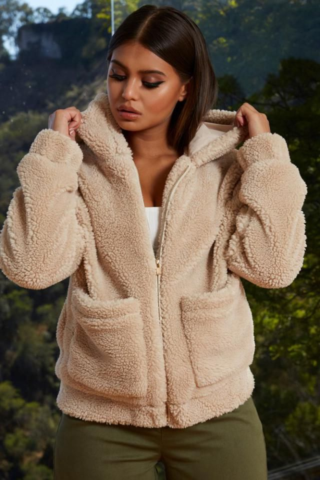 ZAFUL X Yasmine Bateman Pocket Zipper Drop Shoulder Fluffy Teddy Coat