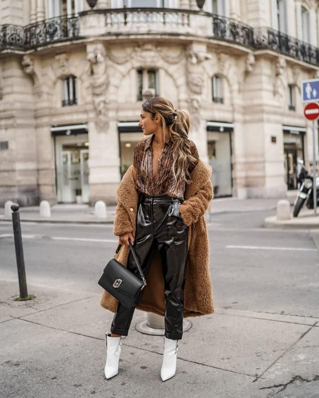 ZAFUL Lapel Pocket Longline Faux Fur Coat  A amazing longline coat with snake print shirt and leather pants . Come to …