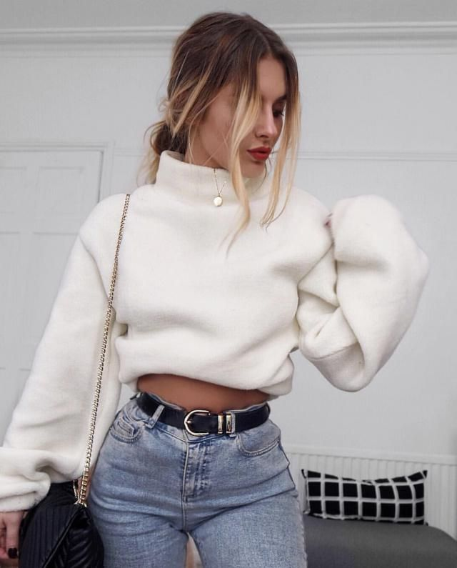 ZAFUL Mock Neck Pullover Teddy Sweatshirt 