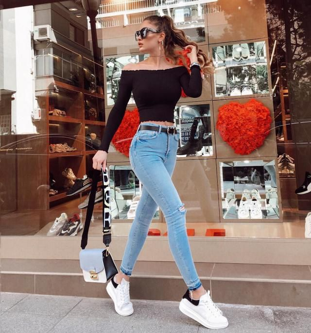 Knitted Off Shoulder Crop Tee   A nice off shoulder knitted and jeans . Come to Zaful ! Buy here!