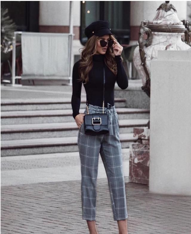 Belted Notched Waist Plaid Pencil Pants