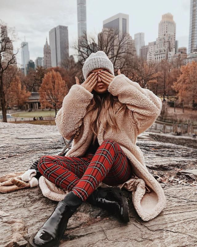 ZAFUL X Luna Montana Faux Shearling Pocket Longline Fluffy Teddy Coat   A beautiful longline coat with plaid pants . C…