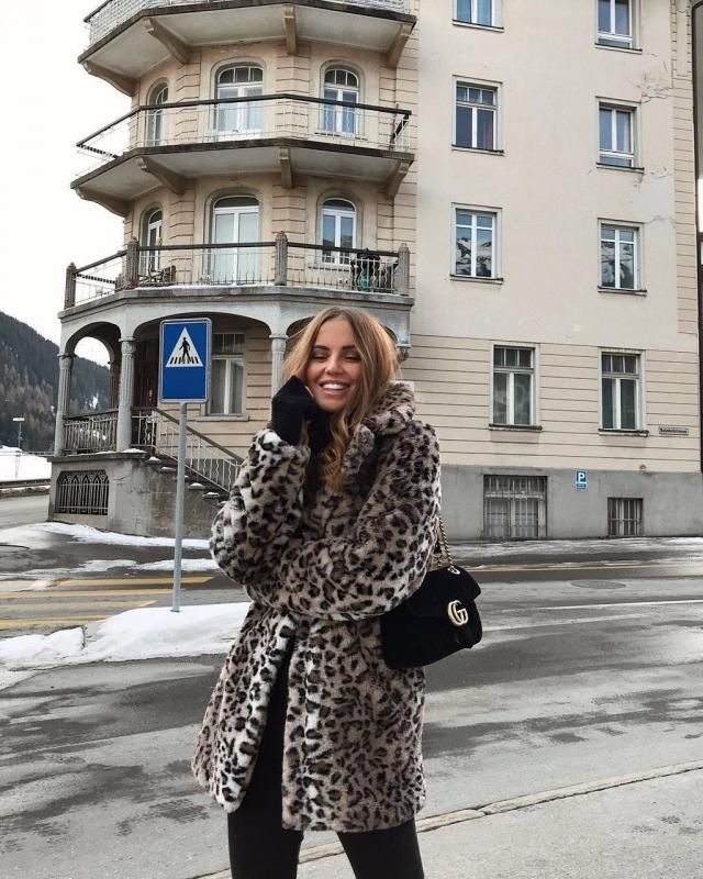 ZAFUL One Button Leopard Print Faux Fur Coat