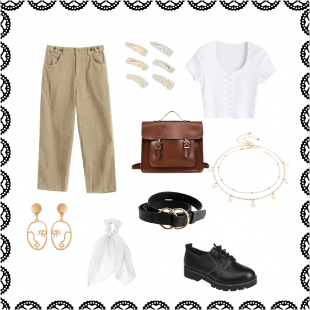a basic outfit with a lot of accessoires