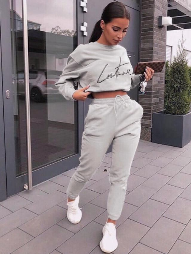 Letter Embroidered Heathered Crop Sweatshirt 