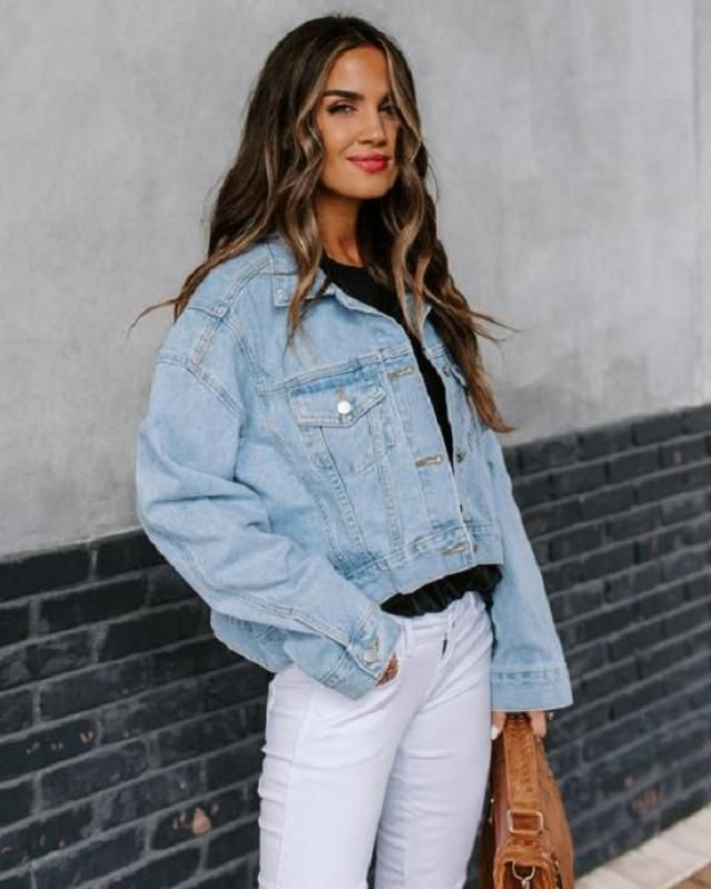 High Low Button Up Pockets Denim Jacket