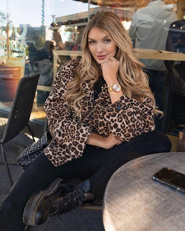 ZAFUL Leopard Print Drop Shoulder Fuzzy Teddy Coat