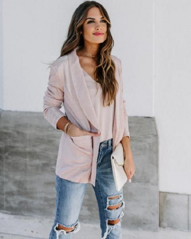 Front Pocket One Button Blazer 