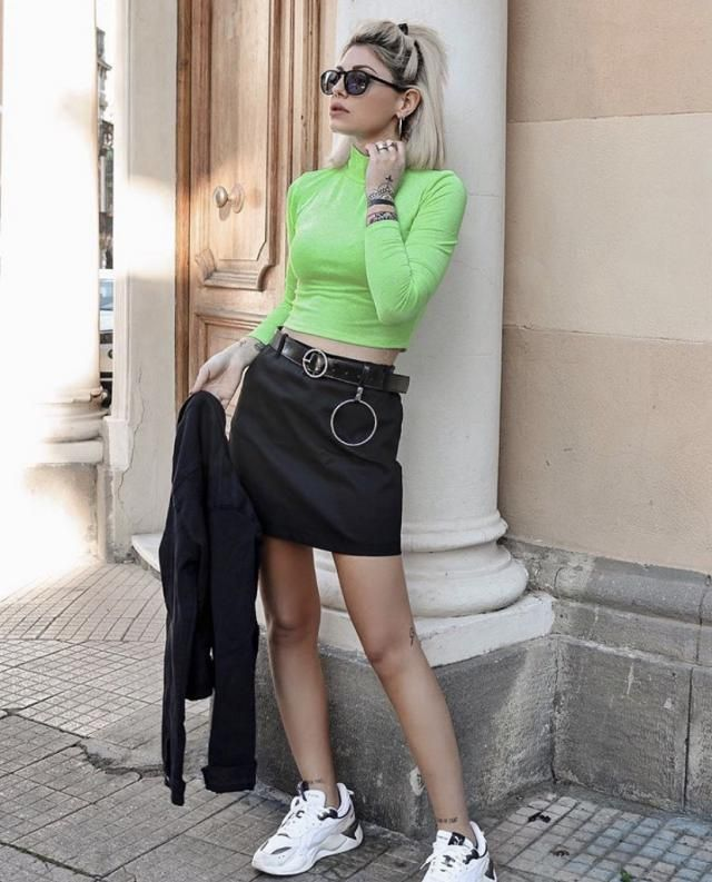 High Collar Ribbed Crop T-shirt    A nice neon color crop t-shirt and mini skirt.BUY HERE! Big sale! Super low prices!…