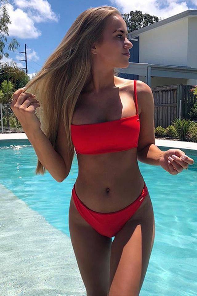Bandeau Bikini Set  Red