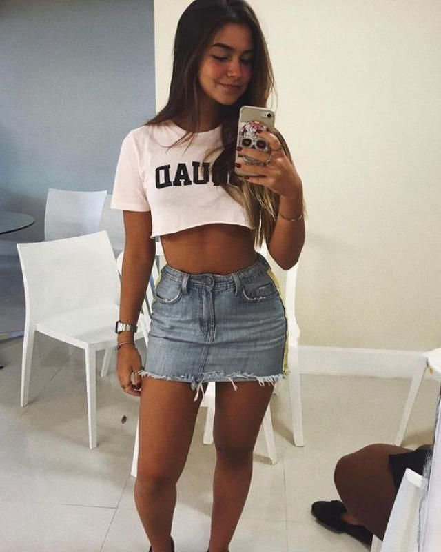 Graphic Crop Tee A wonderful denim skirt with graphic crop tee. Big sale! Super low prices! Shop at Zaful-a!        …
