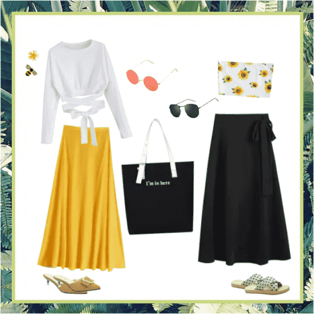 Mix and match these cute skirts and shirts to make new combos for a day at the beach or for a fun night out.