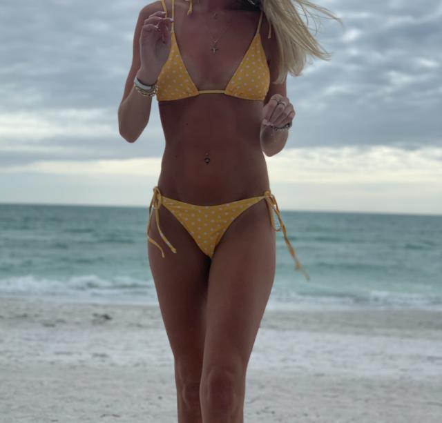 love the yellow polka dot bikini, super cute how you can tie it at the top.