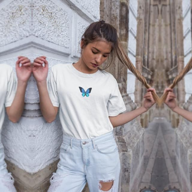 Raw Hem Butterfly Embroidered Cropped Tee  Buy these gorgeous cropped tee and stay on-trend. A perfect girls summer…