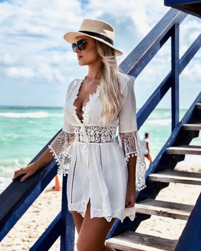 Drawstring Chiffon Pompoms Beach Dress We can't imagine a beach without a perfect beach dress.
