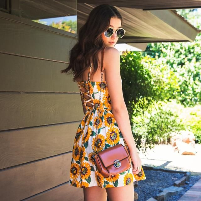 ZAFUL Sunflower Pattern Backless Slip Dress  Get ready for summer! Shop in Zaful! Big sale! Super low prices!        …