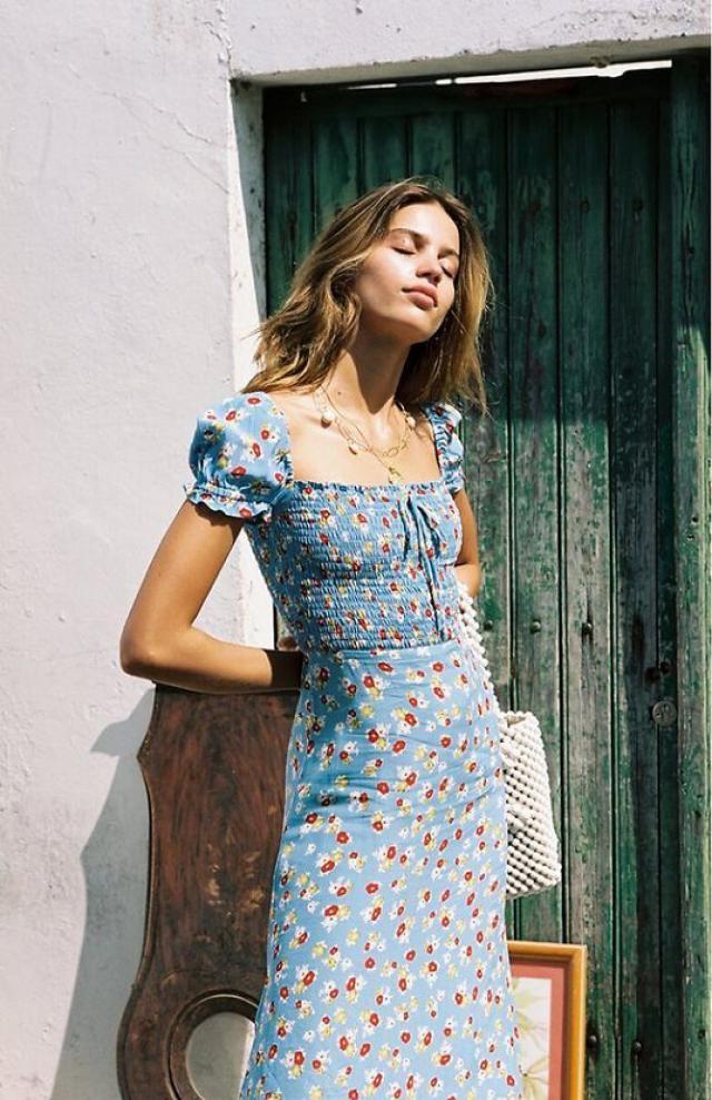 ZAFUL Floral Smocked Slit Puff Sleeve A Line Dress