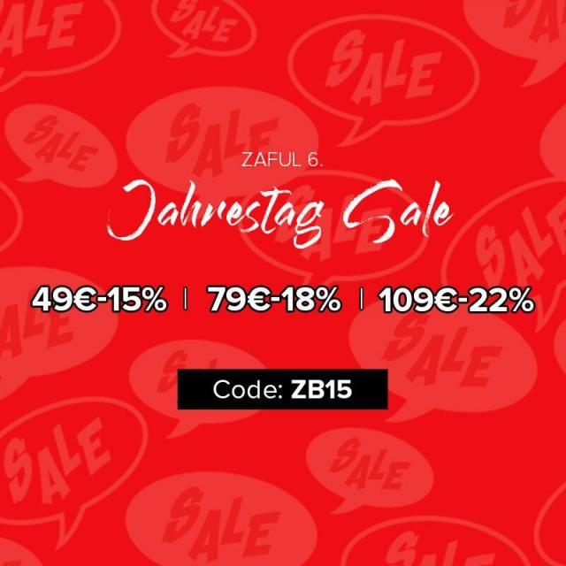 ZAFUL 6. JAHRESTAG SALE WEITERE RABATT BIS ZU 75% RABATT! Rabatt-Code: ZB15 49€ - 15% 79€ - 18% 109€ - 22%