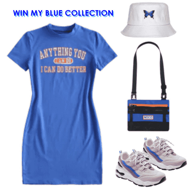 BLUE GIVEAWAY!  Win your blue collection by styling your fav blue items!  Check our [ How to wear Blue ] article and us…