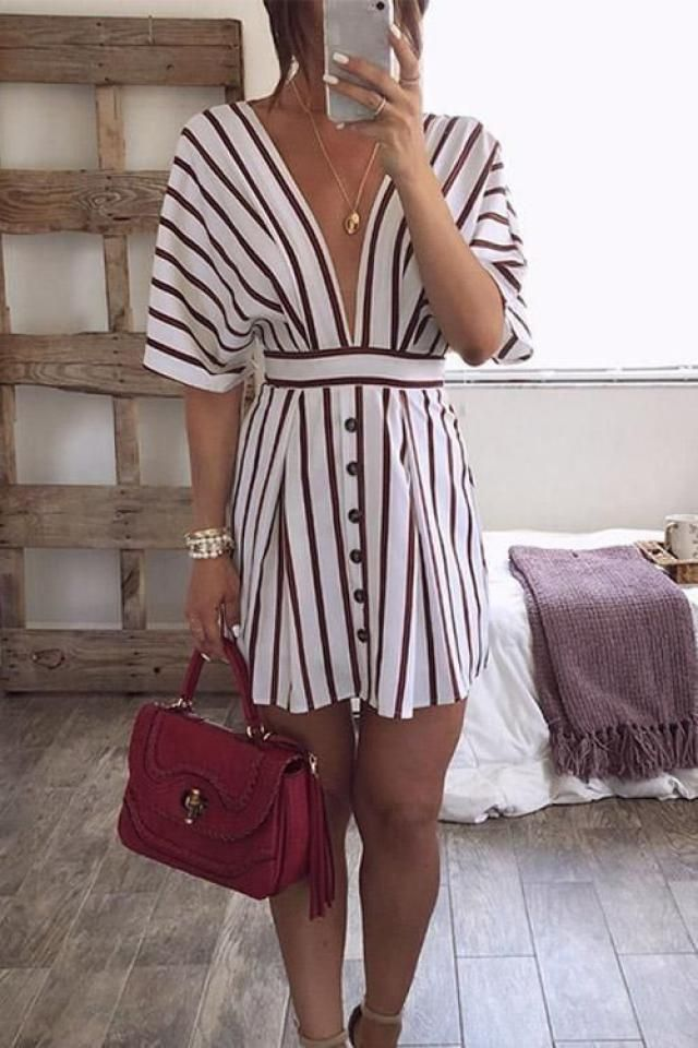 Striped Twisted Tied Plunging Dress