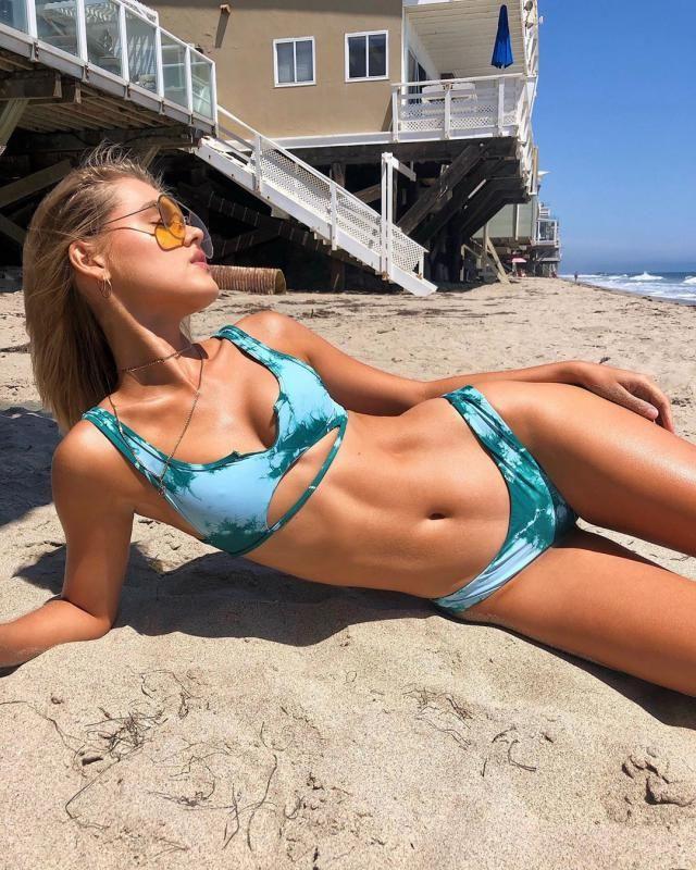 Jessica Stockstill X ZAFUL V-notch Cutout Tie Dye Bikini Swimsuit    A perfect girls summer fashion. Shop at Zaful!  …