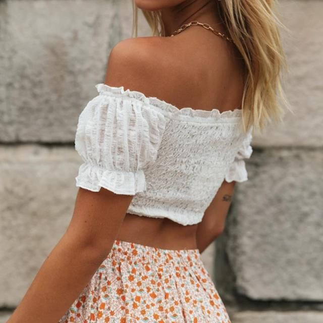 ZAFUL Frilled Off The Shoulder Smocked Top Live your summer in colour with Zaful. Trendy girls summer fashion. Shop at…