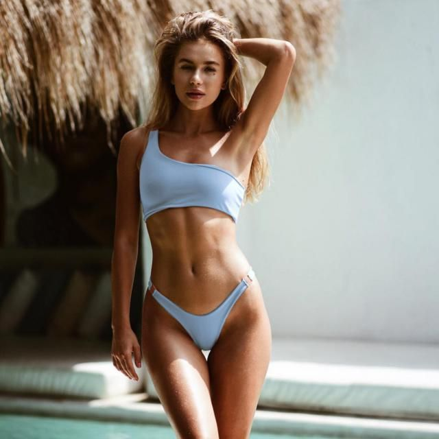 ZAFUL One Shoulder Textured Ribbed Bikini Swimsuit