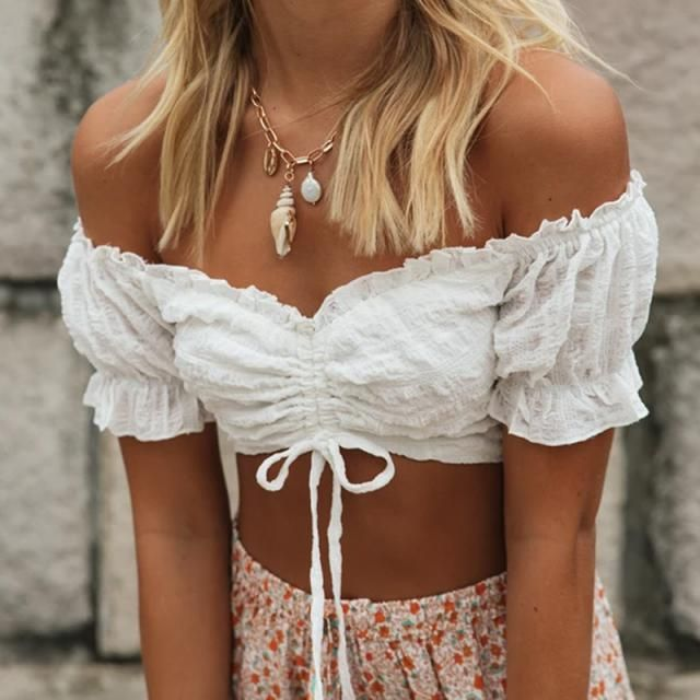 Crinkle Off Shoulder Cinched Front Blouse  A perfect blouse with skirt  from Zaful. Zaful is your right choice to buy…