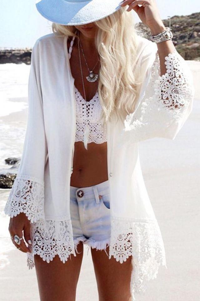 Pom-pom Crochet Panel Beach Dress