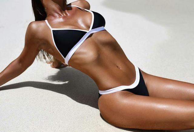 ZAFUL Whip Ribbed Tie String Bikini Swimsuit  A perfect black swimsuit bikini. Shop at Zaful!