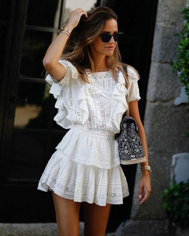 Frilled Sheer Mesh Dress