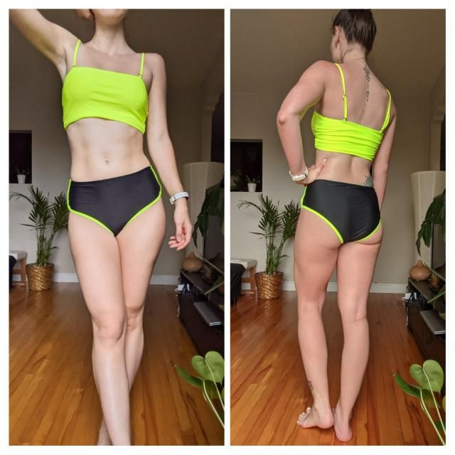 Great for sports. Love the high waisted bottom. The neon yellow is flattering for pale skin. Tight and secure. I got s…