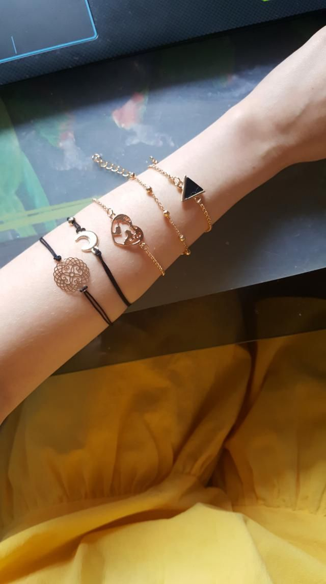 Because my hands are kinda small the braceletes are a little big, but they still look very pretty. They can match with…