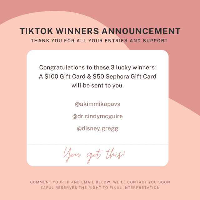 TikTok &;zafulstore&; event winners announcement! Wanna be the lucky winner next time?  Head over to our TikTok @zafulo…