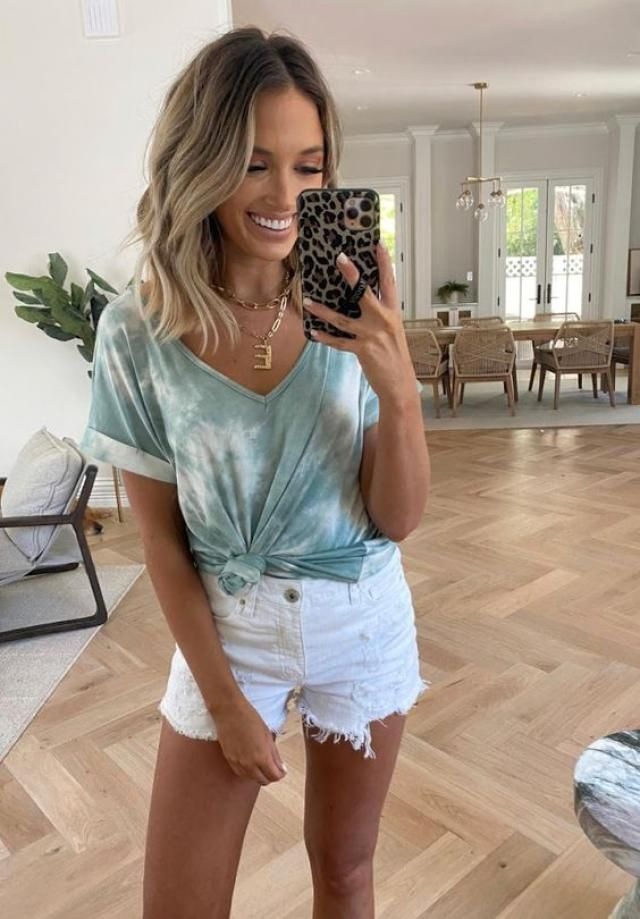 Tie Dye V Neck Crop Wrap Tee 