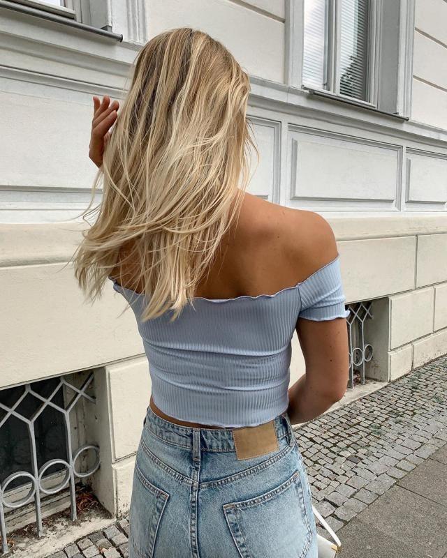 Off shoulder blue top! ♥