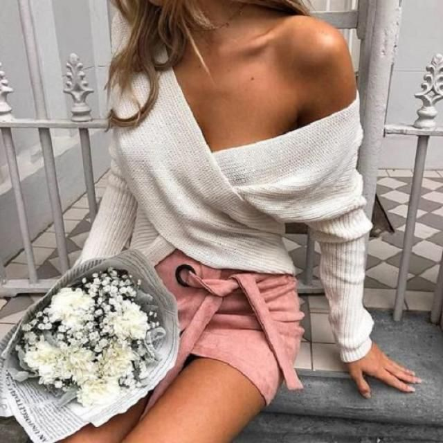 Knitted Ribbed Wrap Top 