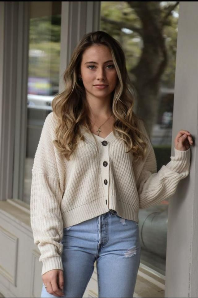 Cable Knit Beaded Button Up Cardigan 