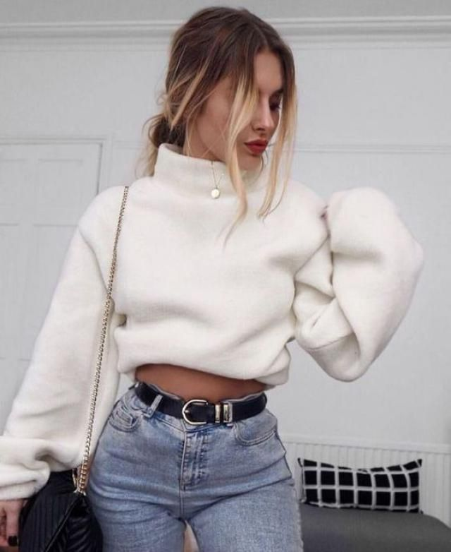 Stand Neck Fluffy Sweatshirt