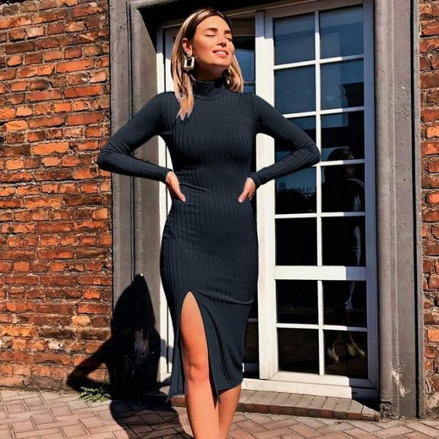 Ribbed High Neck Bodycon Dress