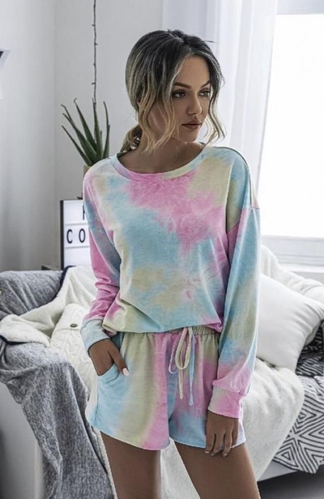 ZAFUL Fluffy Tie Dye Two Piece Shorts Set 