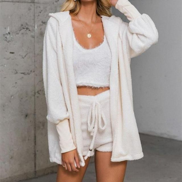 Cropped Fluffy Faux Shearling Pajama Set