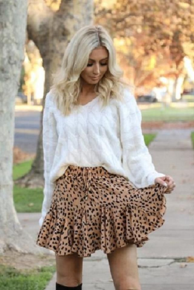 ZAFUL Leopard Ruffle Bowknot Mix And Match Skirt Set And Sweater