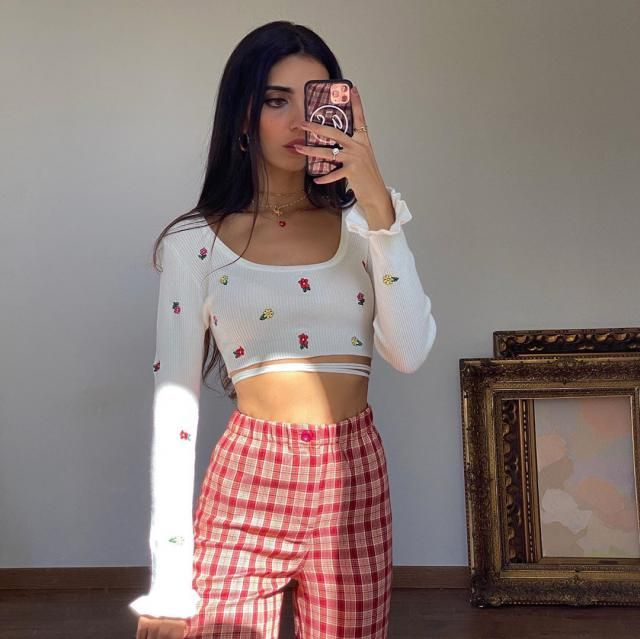 Tiny Floral Embroidered Tie Front Cropped Sweater! get this cute cropped sweater here in ZAFUL!♥